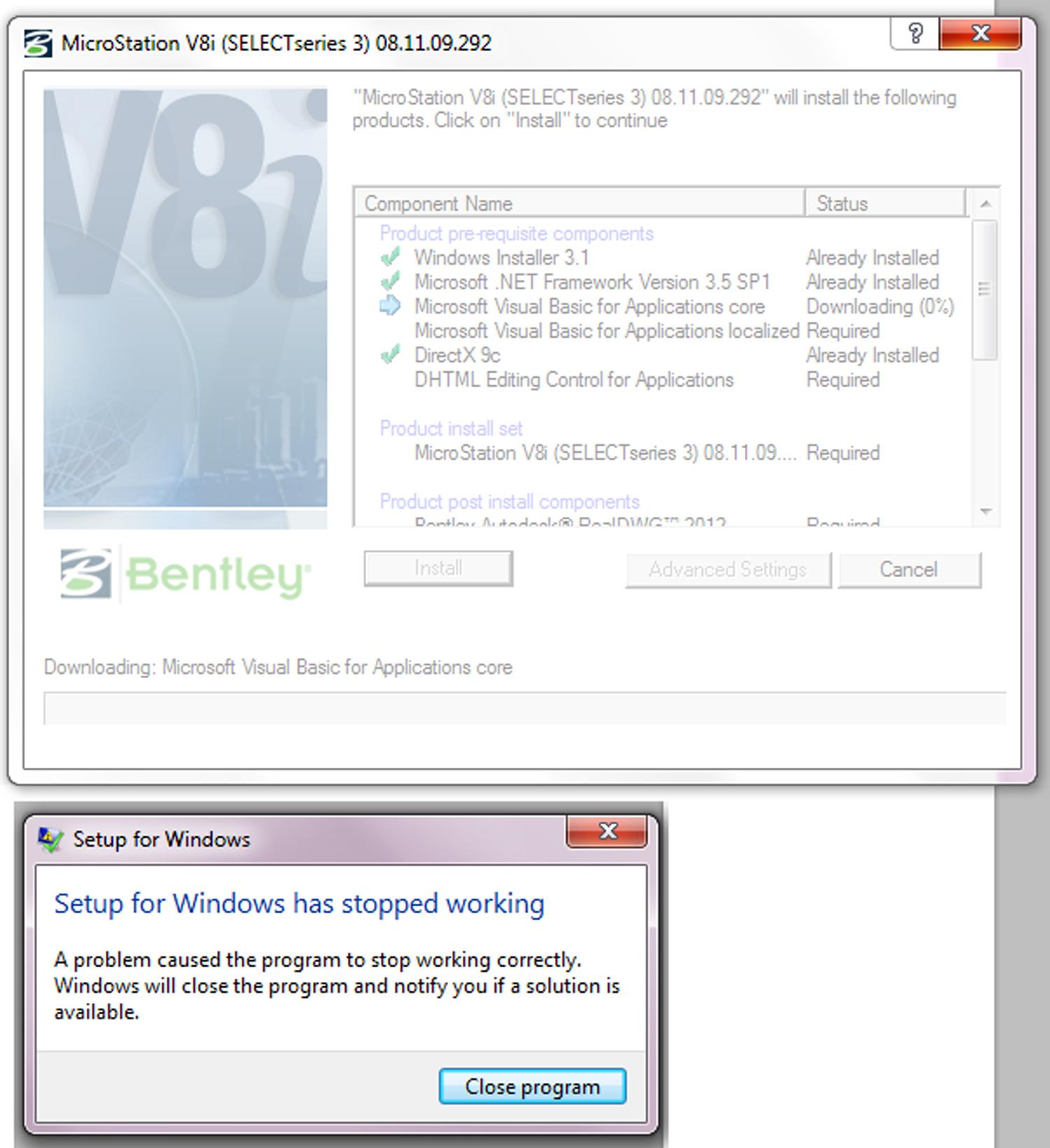Bentley Microstation Demo: [V8i] Microstation Crashes On Installation