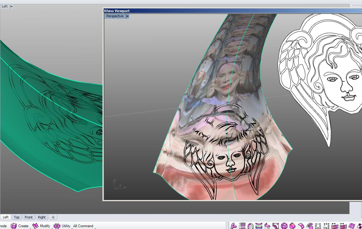 project 2d element onto 3d curved surface and extrude