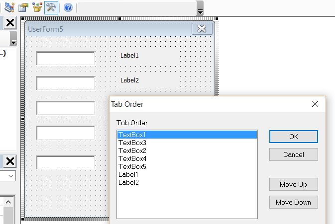 Userform - using tab to jump to the next control not possible