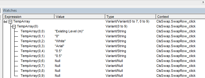 V8i VBA] Copying listbox items to 2D array but getting wrong
