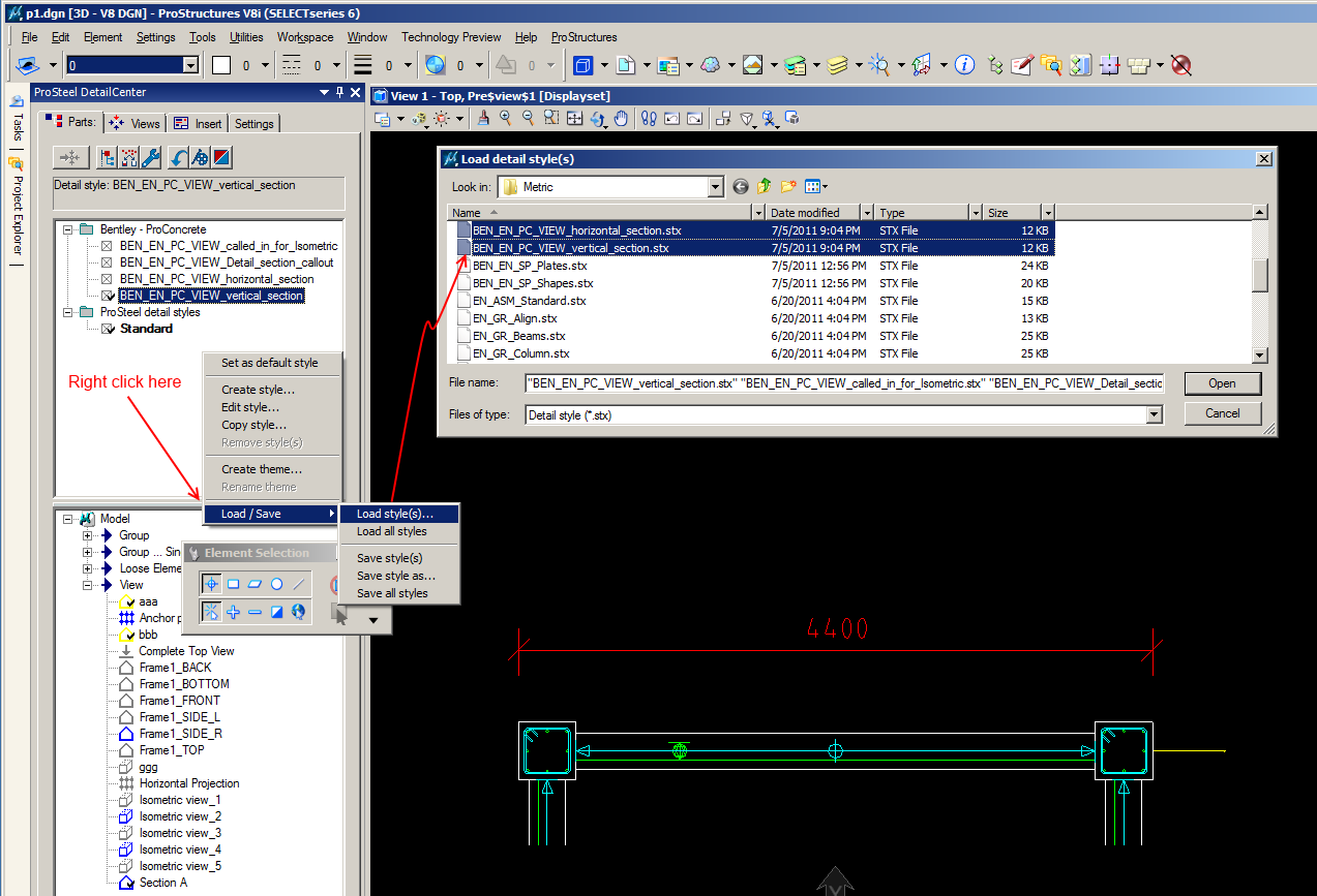 how to make rebar visible in a created section in the