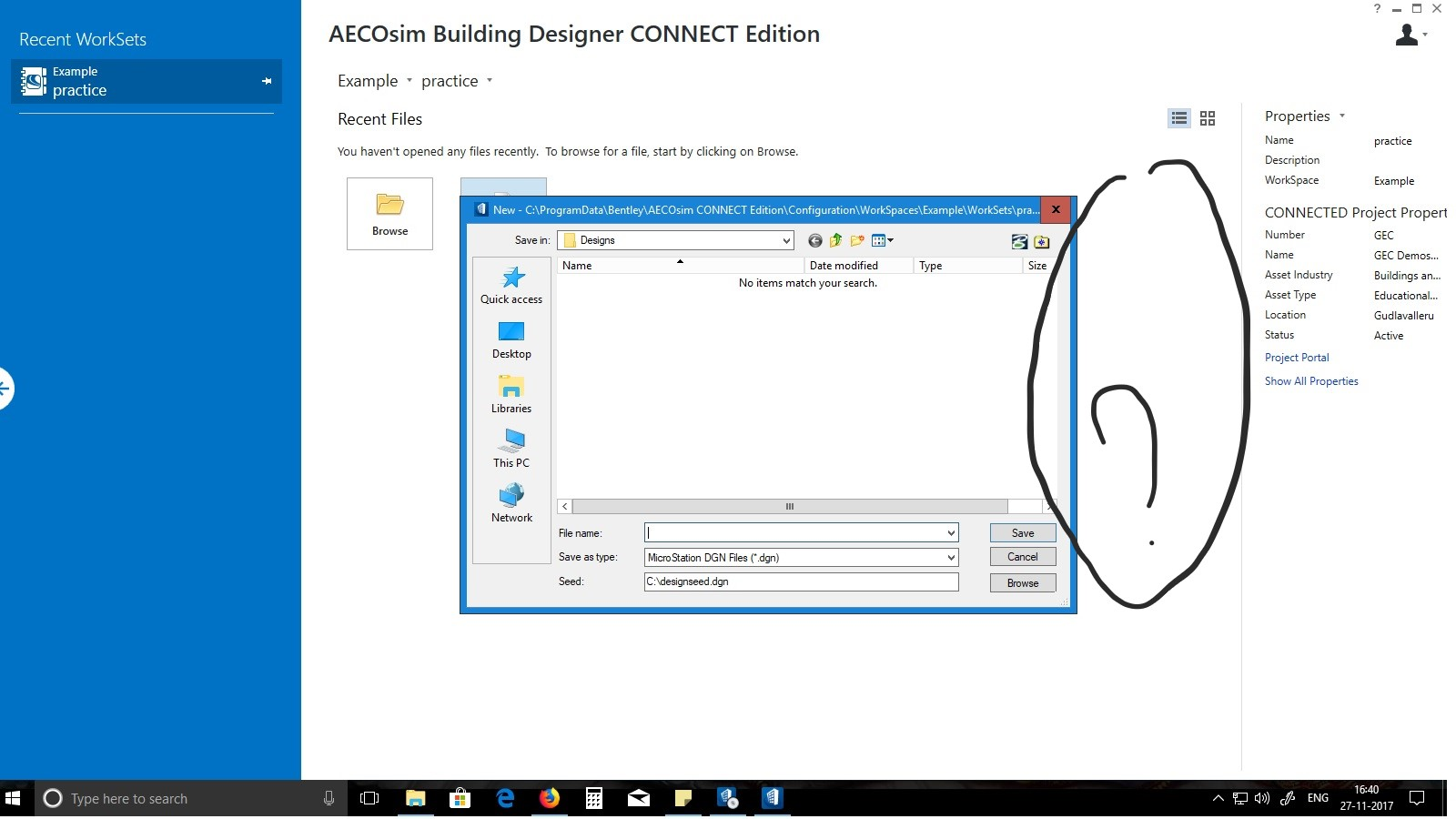 Regarding the aecosim building designer software aecosim i was new for the software and while i am training it i couldnt see the dialogue box as it was shown in the tutorial also there are no us data sets in the ccuart Image collections