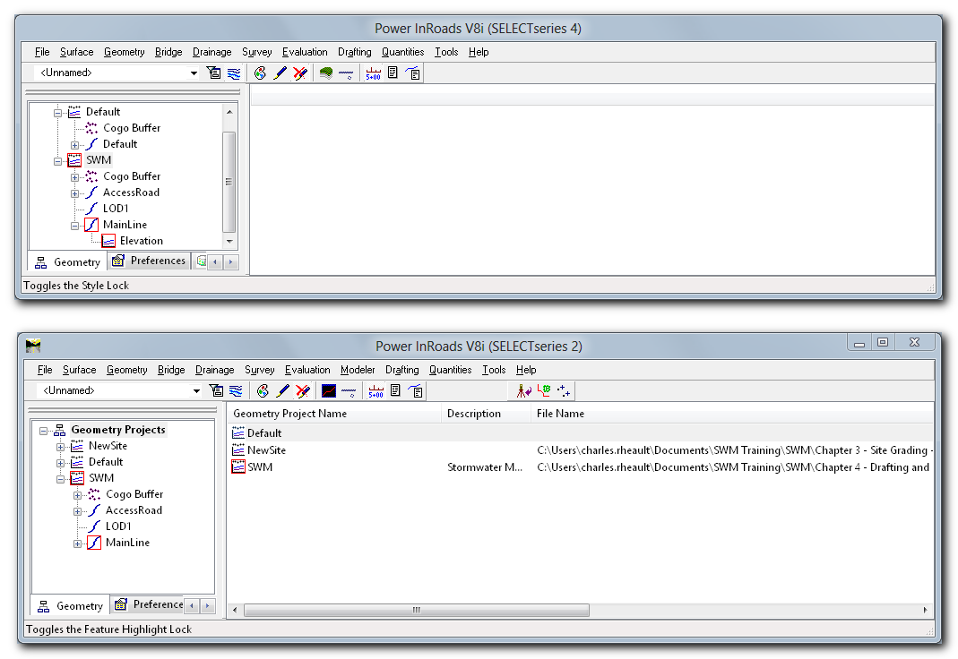 This screen shot shows the Explorer of both versions. On Ss2, I have  selected the Geometry Projects in the Workspace pane and the details pane  shows the ...