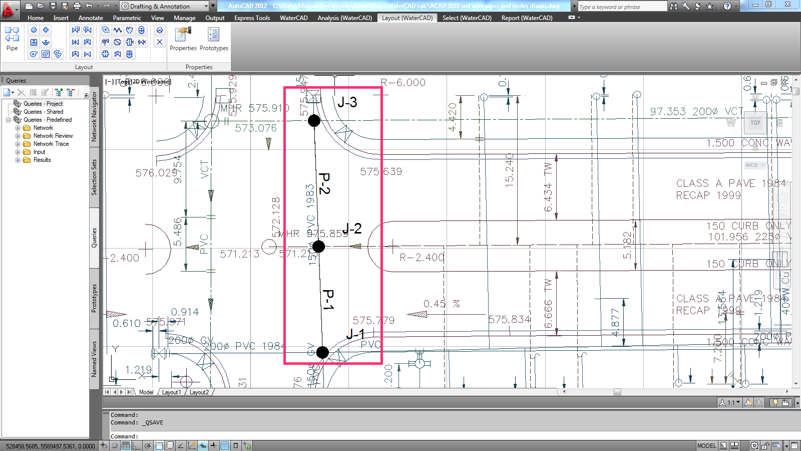 Layout And Element Sizes In Watercad For Autocad Openflows Piping Diagram Symbols What Is The Method Of Changing Junction Pipe Etc Labels J 1 P 4 V8i Civil 3d 2012
