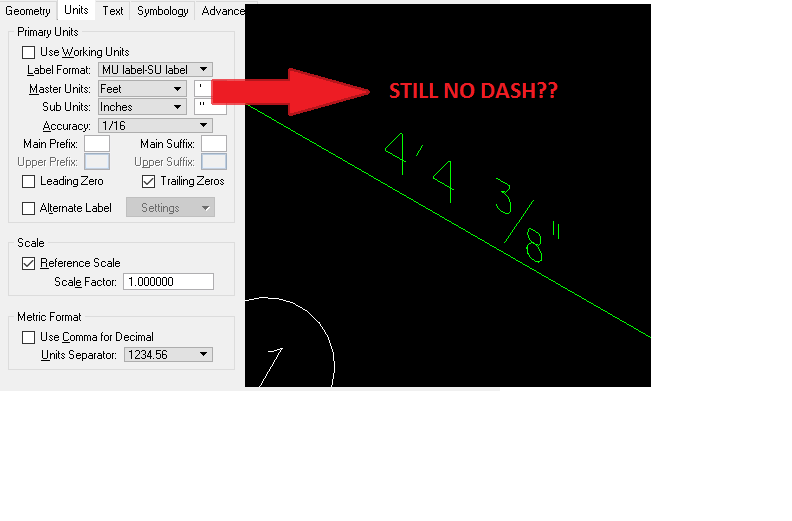 How to get a dash between Feet and Inches in OPIM dimensions