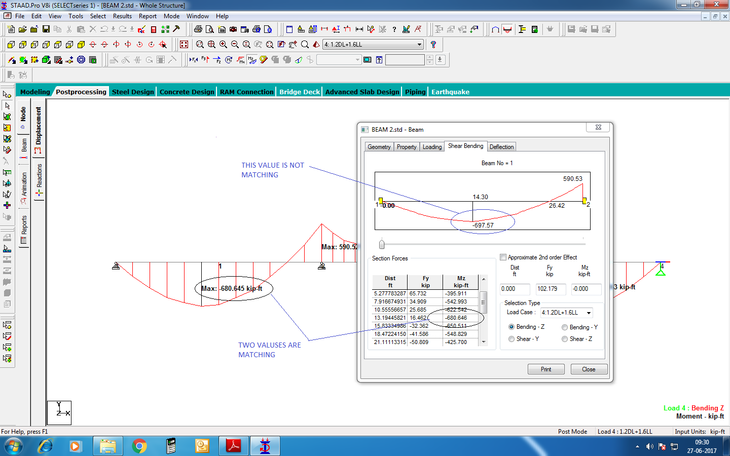 Difference In Bending Moment Value Ram Staad Forum Diagram Software