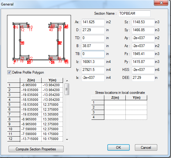 section wizard: cross section created in section wizard is