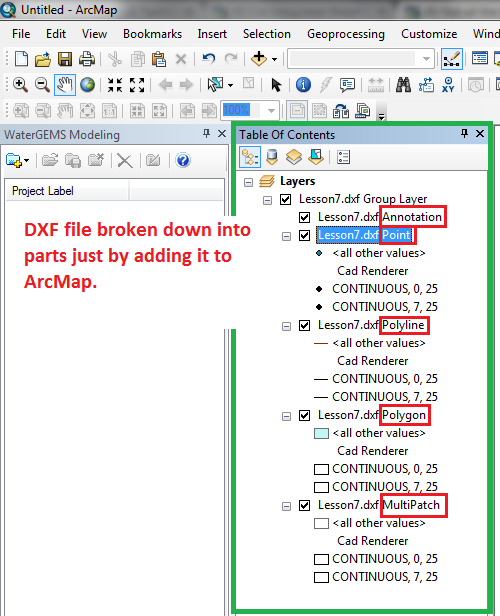 DXF or DGN layers missing in ModelBuilder - OpenFlows