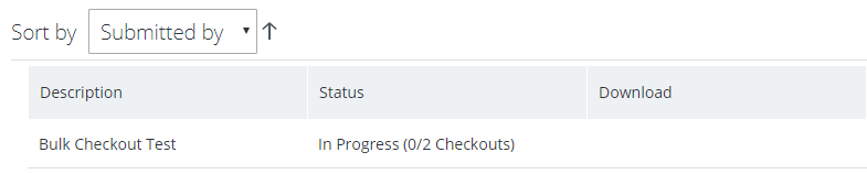 Screenshot of checkout progress