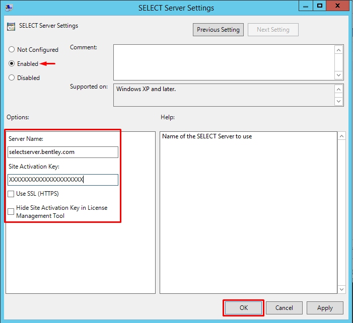 Configuring SELECTserver group policy template in Windows