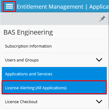 Screenshot of menu with License Alerting (All Applications) selected