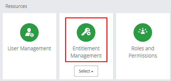 Screenshot of Entitlement Management tile