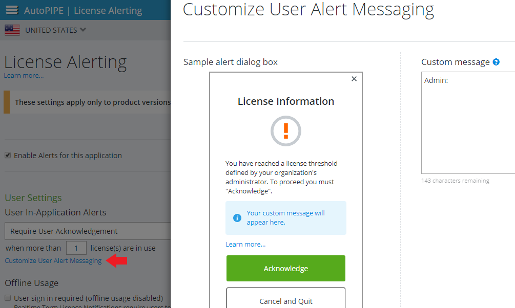 Screenshot of custom alert message setting