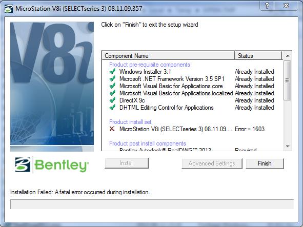 Error 1603 during install - MicroStation Wiki - MicroStation