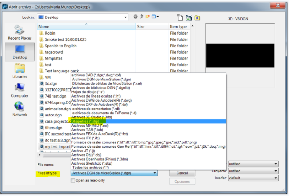 How to open or attach  shp format directly in MicroStation