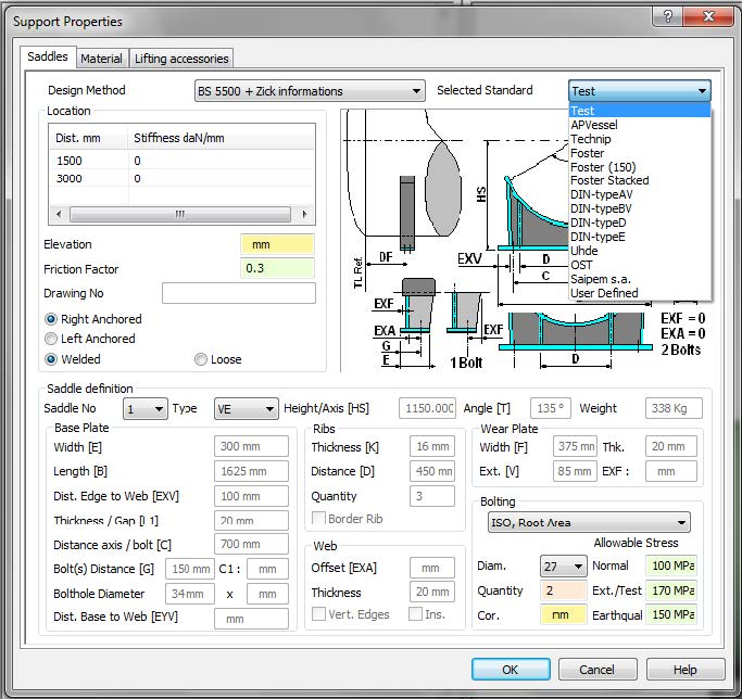 Stress Test Double Product: Q. How To Create Custom Saddles In AutoPIPE Vessel