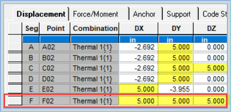 04  Define a Displacement at a Support in AutoPIPE