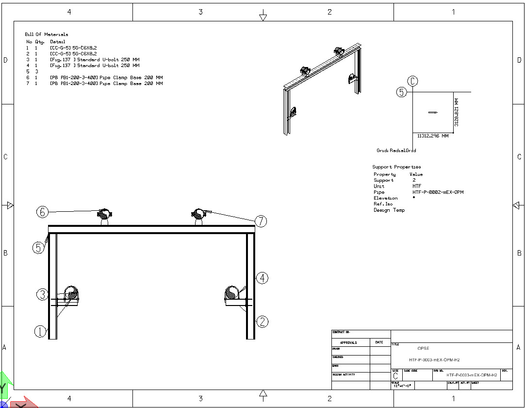 To Generate Drawing For Grouped Supports In Openplant Support Hvac P Id See Below With Pipe And Bom