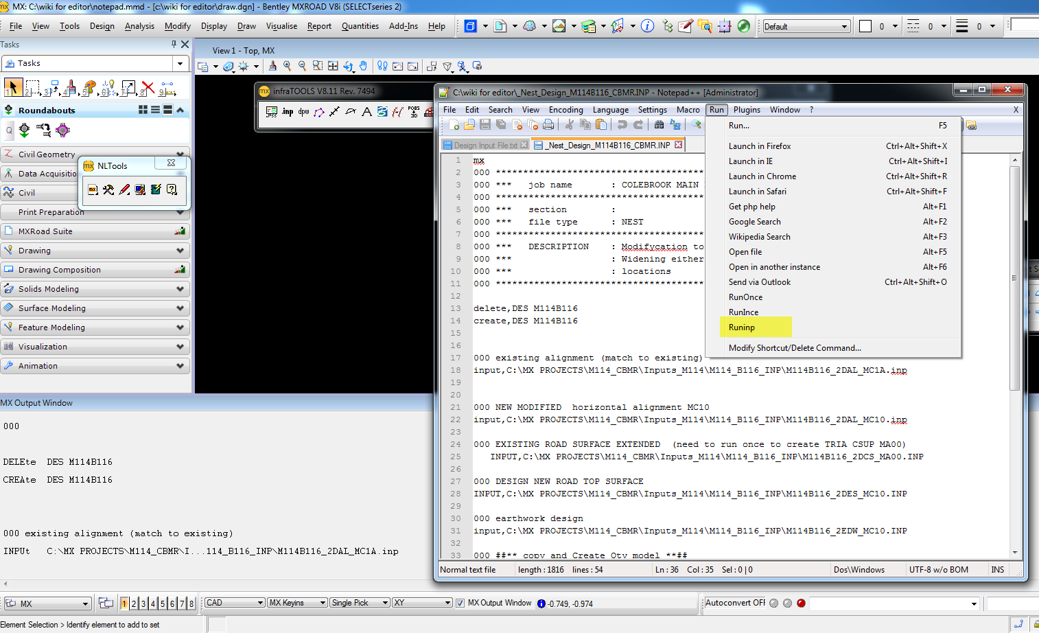 Run Input Files Through Notepad Editor In Mxroad Openroads Opensite Wiki Openroads Opensite Bentley Communities