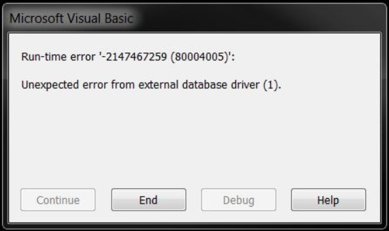Visual Basic Run-time error '-2147467259 (80004005)' when