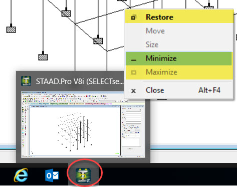 Not able to minimize or maximize STAAD Pro using the buttons