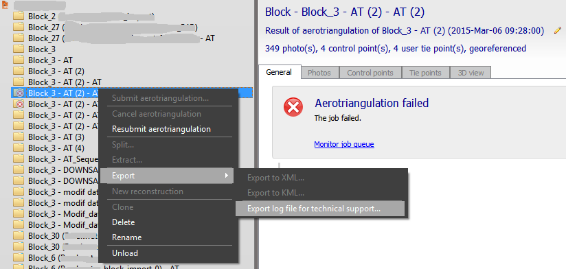 Export logfile for technical support - ContextCapture | Descartes ...