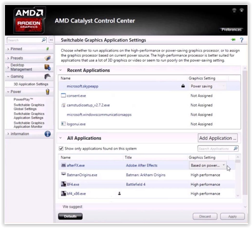 Changing graphics card settings to use the dedicated GPU on a