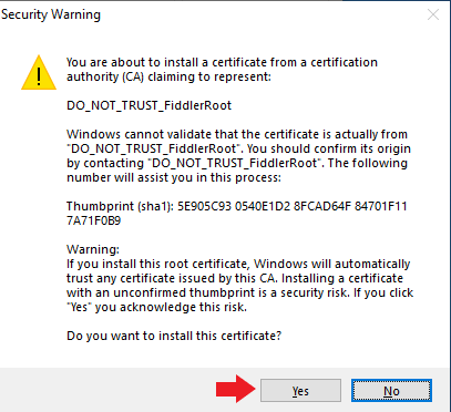 Screenshot of security certificate installation