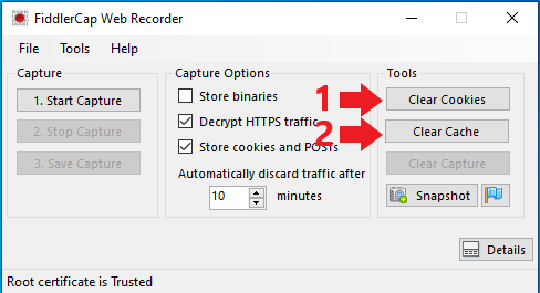 Screenshot demonstrating clearing of cache and cookies