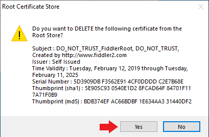 Screenshot of certificate deletion dialog