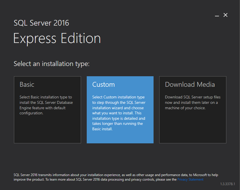 Installation von SQL Server 2016 Express - Licensing and