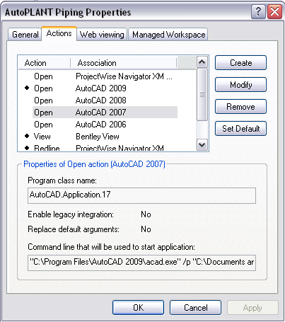 ProjectWise Opens Wrong Version Of AutoCAD For AutoPLANT [TN