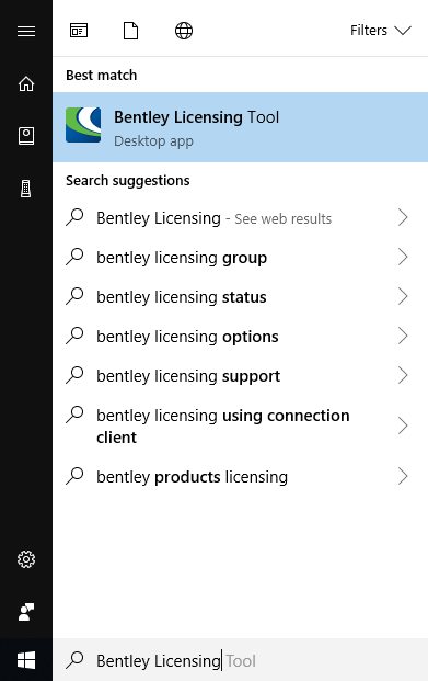 Opening The Bentley Licensing Tool