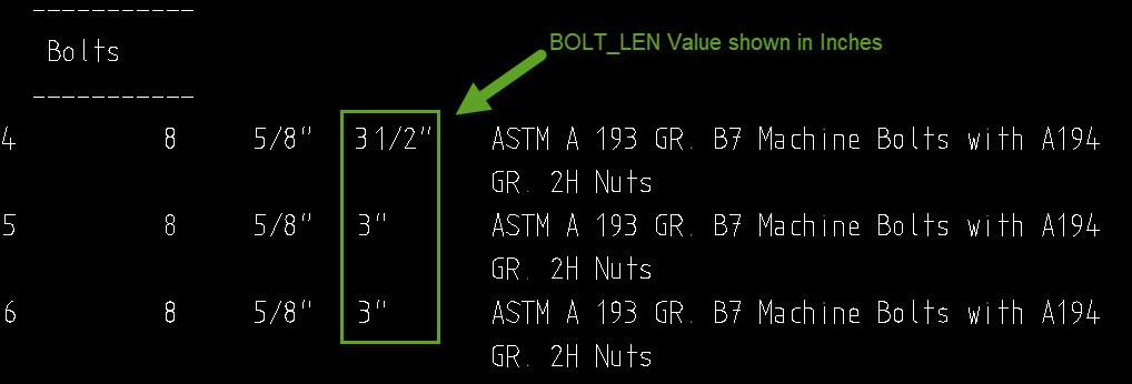 To Display Bolt Length as Metric in BOM Description