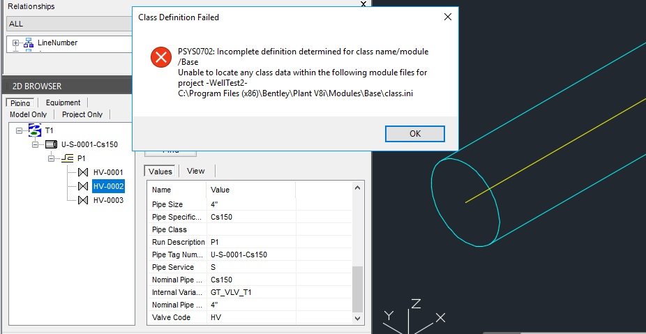 but using 2d to 3d tool in autoplants new model same valve placement is not working and giving psys0702 error