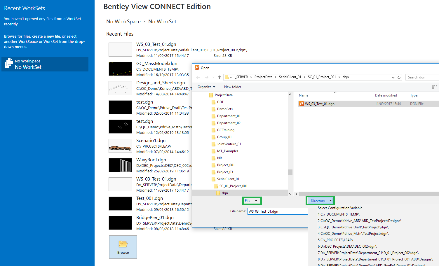How to change default file opening path in Bentley view