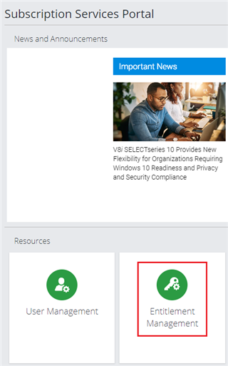 Screenshot with Entitlement Management tile highlighted