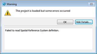 The project is loaded but some errors occured. Failed to read Spatial Reference System definition.