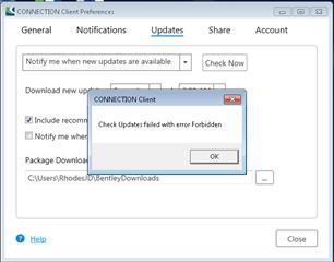 Connection Client Update Fails with Error Forbidden - Cloud