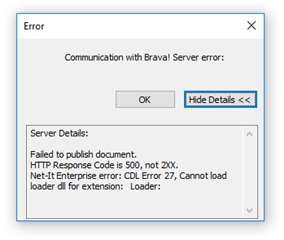 Failed to publish document in Brava Error : HTTP Response
