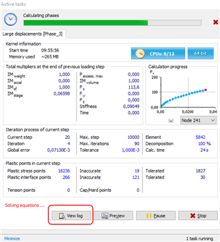 select Converge Log during the Calculation for live updating of the log