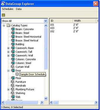 From The Datagroup Explorer Dialog Box Choose Sample Door Schedule Template Catalog Type