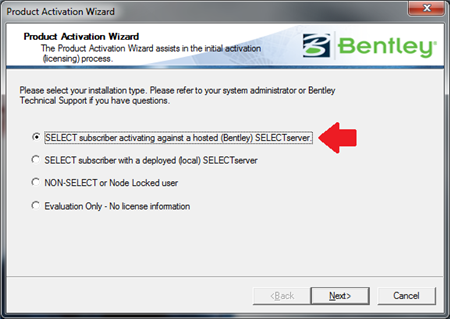 Activating Against Selectserver Online A Bentley Hosted