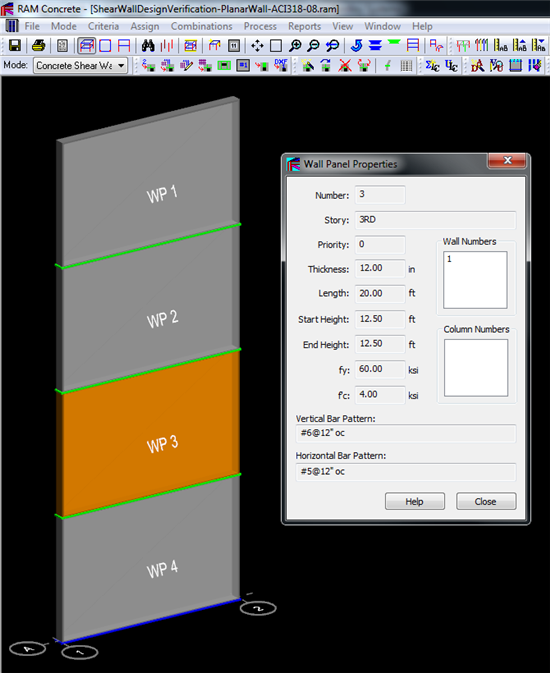 RAM Concrete Shear Wall Verification Planar Wall Using