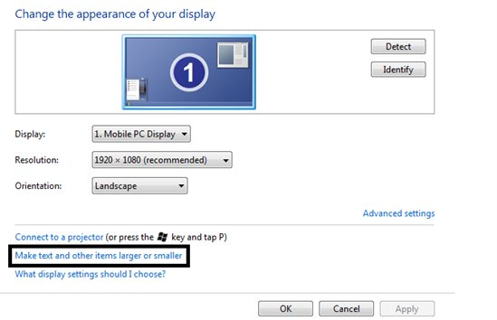 Current screen resolution (1280x720) is less than the