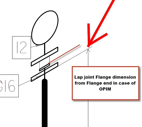 Lap Joint Stub End Dimension in OpenPlant Isometrics Manager