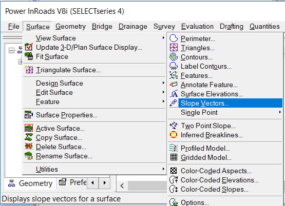 civil tools imported surface not shown in inroads explorer