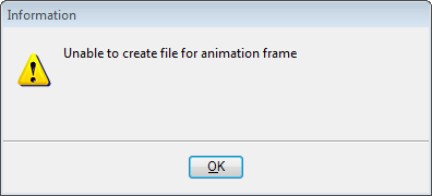Unable to create file for animation frame