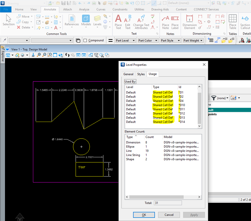 Bentley Microstation Demo: Unable To Delete Shared Cells From AutoCAD Dimensions