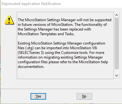 v8i] Settings Manager nagscreen - MicroStation Forum